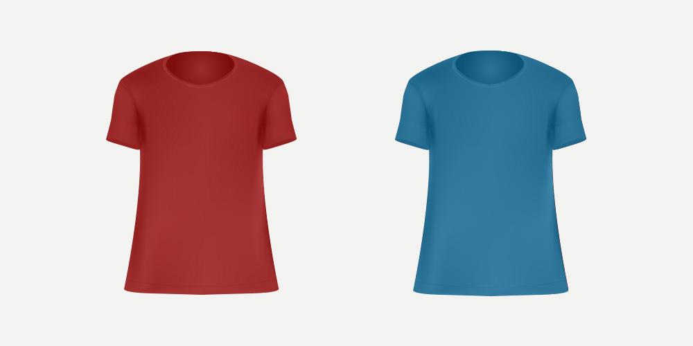 赤と青のTシャツ