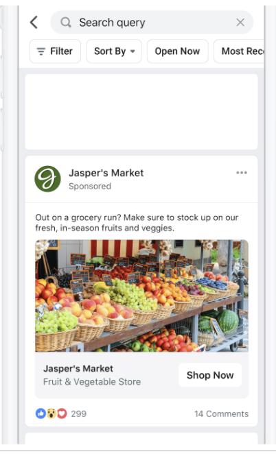 Facebookの検索結果に表示される広告
