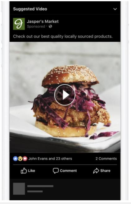 Facebookの動画フィードに表示される広告